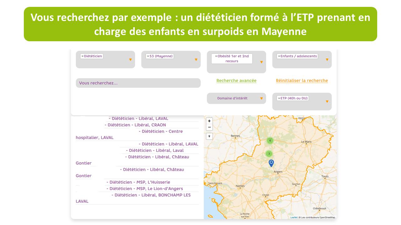 CARTO'NUT cartographie des professionnels de santé en lien avec l'alimentation sur le 44